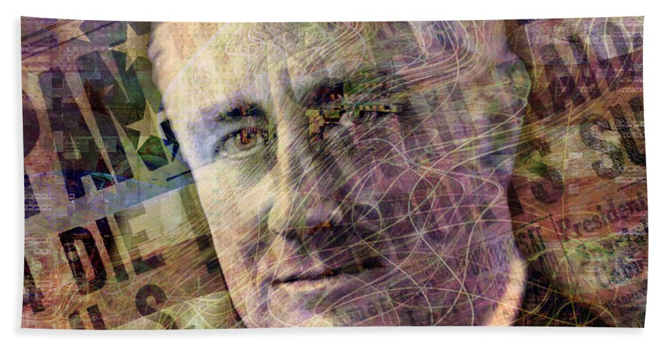 franklin Roosevelt Bath Sheet featuring the digital art FDR by Barbara Berney
