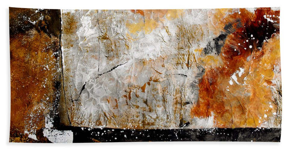 Abstract Bath Towel featuring the painting Fear Of The Unknown by Ruth Palmer