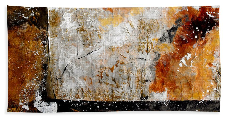 Abstract Hand Towel featuring the painting Fear Of The Unknown by Ruth Palmer