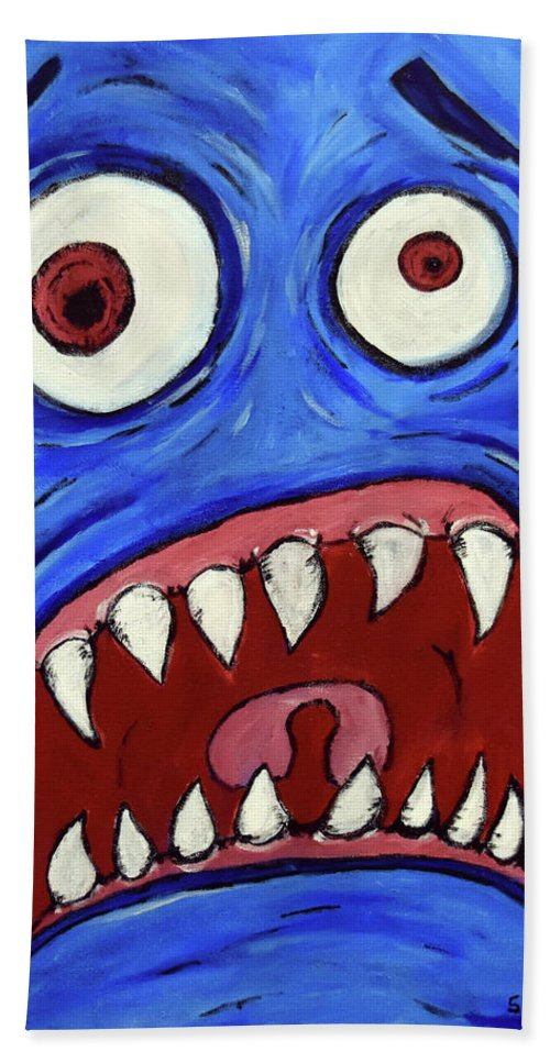 Bath Sheet featuring the painting Fear-potentiated Startle by Squid XIII