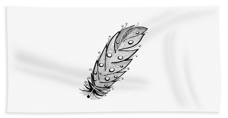 Feather Hand Towel featuring the drawing Feather1 by Petra Stephens