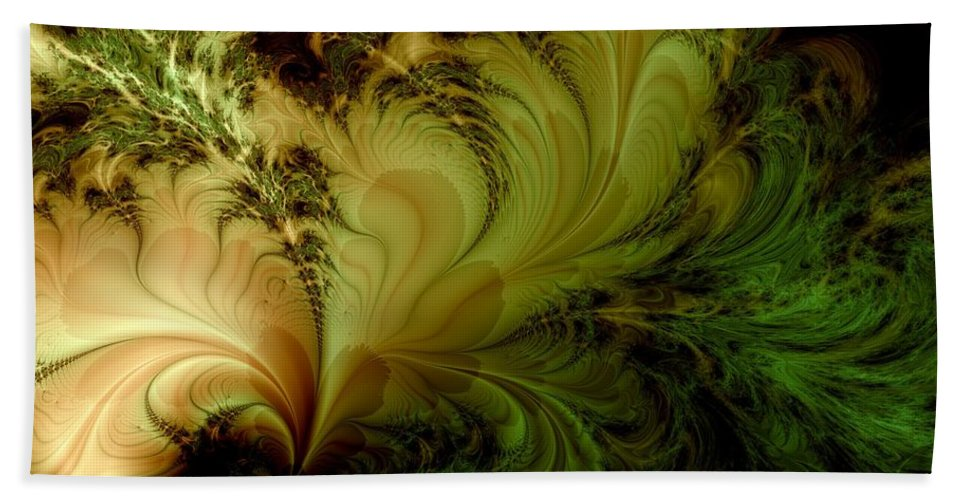 Feather Hand Towel featuring the digital art Feathery Fantasy by Casey Kotas