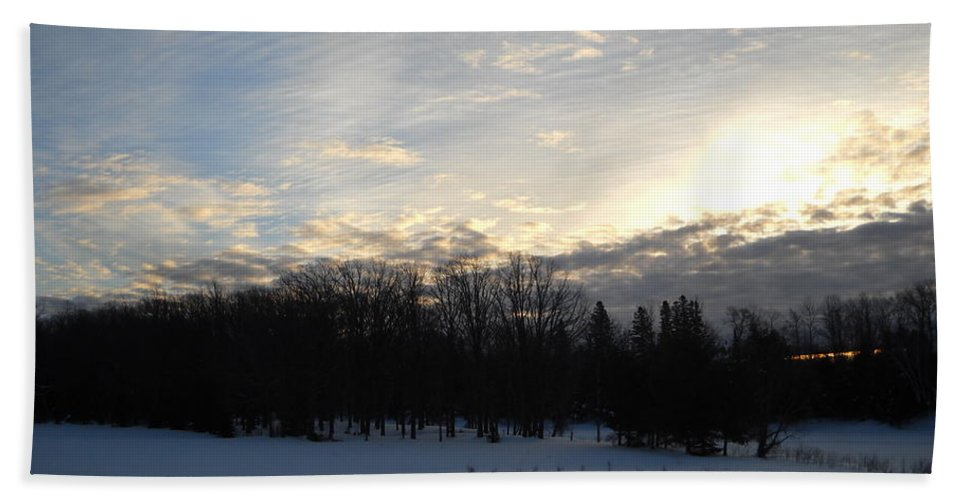 Dawn Bath Sheet featuring the photograph February Dawn Clouds by Kent Lorentzen