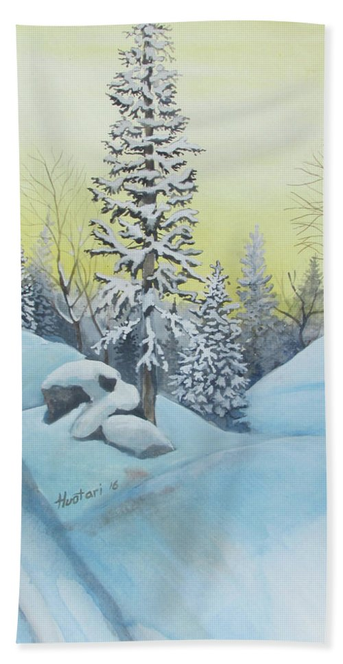 Winter Hand Towel featuring the painting February Morning by Rick Huotari