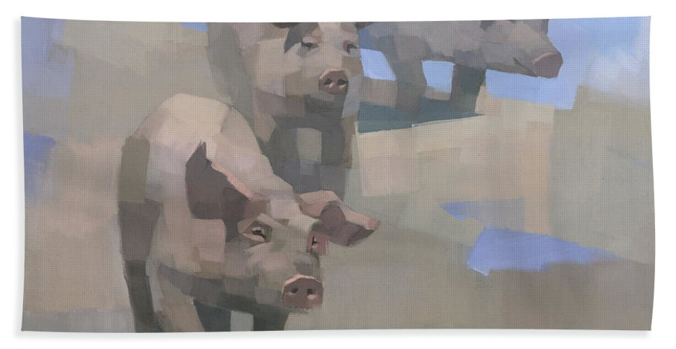 Pigs Hand Towel featuring the painting Feed Time by Steve Mitchell