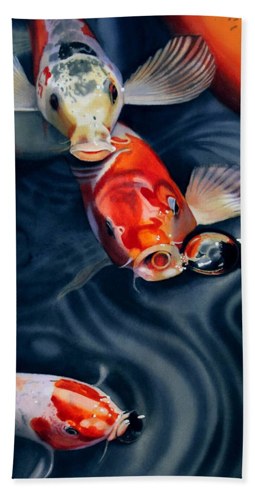 Koi Hand Towel featuring the painting Feeding Frenzy by Denny Bond