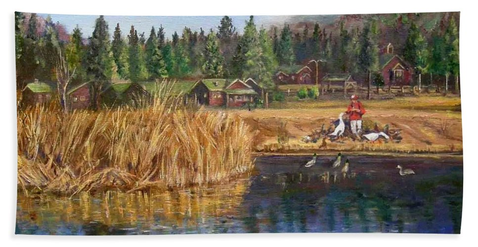 Landscape Hand Towel featuring the painting Feeding The Ducks by Olga Kaczmar