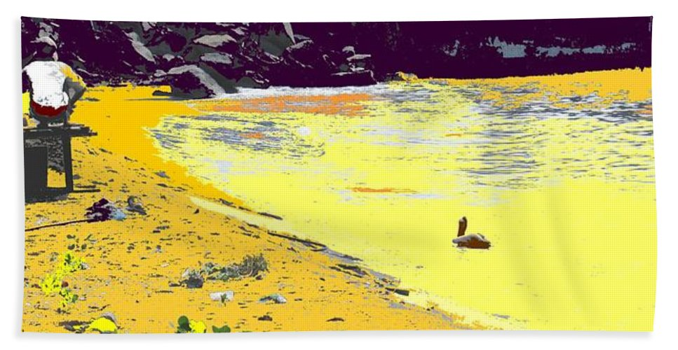 St Kitts Hand Towel featuring the photograph Feeding The Pelicans by Ian MacDonald