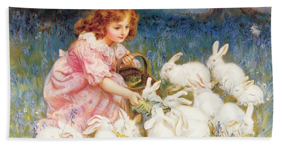 Feeding Hand Towel featuring the painting Feeding the Rabbits by Frederick Morgan