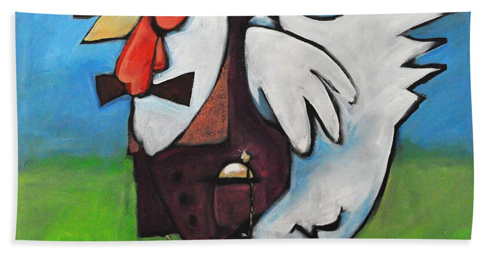 Rooster Hand Towel featuring the painting Feelin Cocky by Tim Nyberg