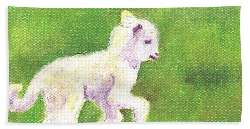 Sheep Art Hand Towel featuring the painting Feelin Frisky by Deborah Butts