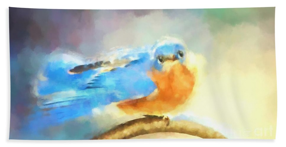 Bluebird Hand Towel featuring the photograph Feeling Blue by Tina LeCour