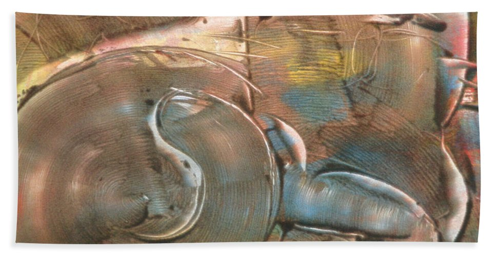 Cat Bath Sheet featuring the painting Feline Zen by Laura Lee Cundiff