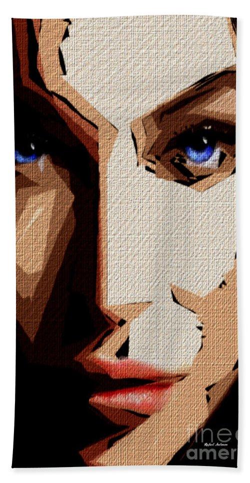 Rafael Salazar Hand Towel featuring the digital art Female Expressions Lvi by Rafael Salazar