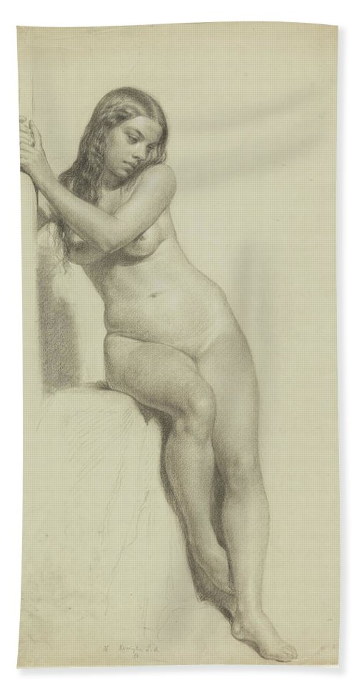 Daniel Huntington Bath Sheet featuring the drawing Female Nude Perched On A Stool by Daniel Huntington