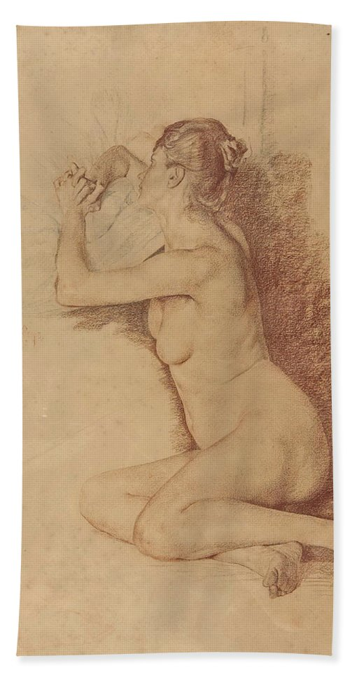 Otto Greiner Bath Sheet featuring the drawing Female Nude With Folded Hands by Otto Greiner