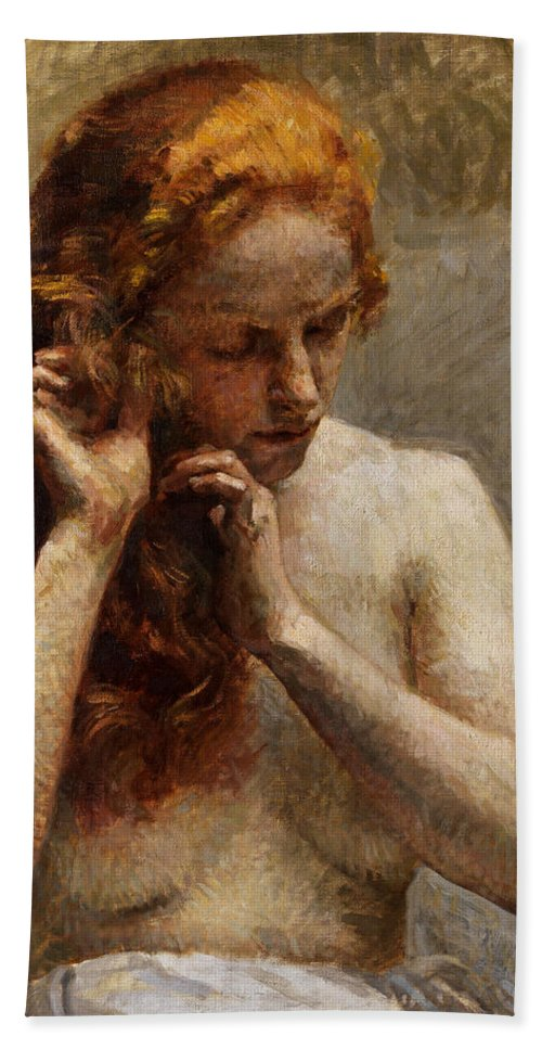 Vlaho Bukovac Bath Towel featuring the painting Female Nude with Red Hair by Vlaho Bukovac
