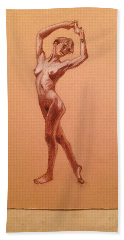 Nude Hand Towel featuring the drawing Female Nudity by Lisa S