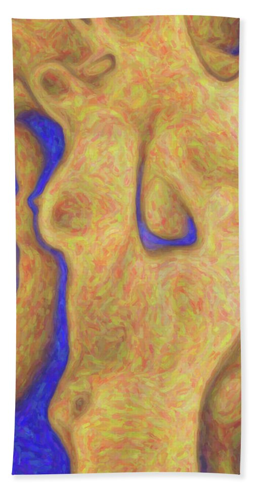 Abstract Bath Sheet featuring the digital art Female Torso by Quim Abella