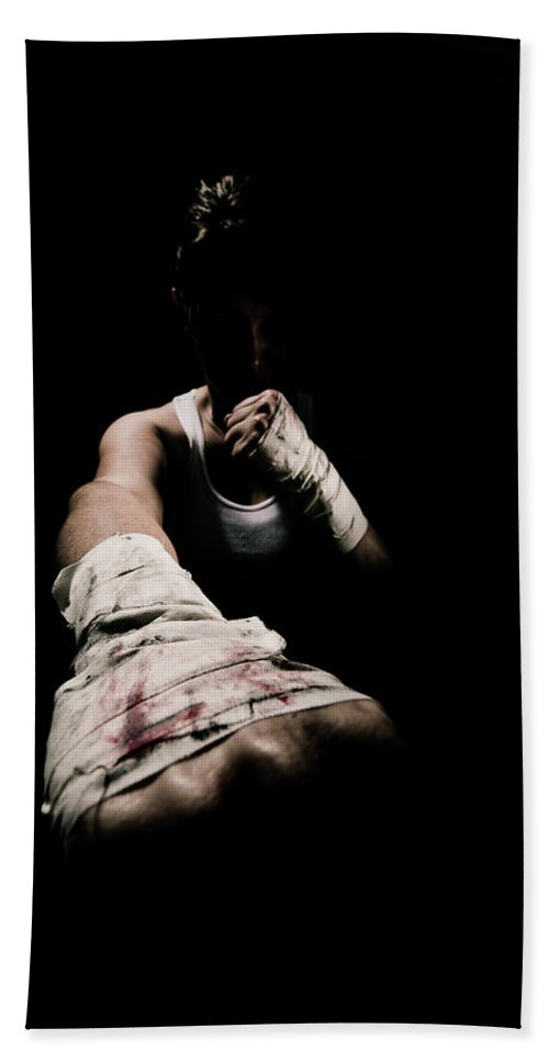Boxing Bath Sheet featuring the photograph Female Toughness by Scott Sawyer