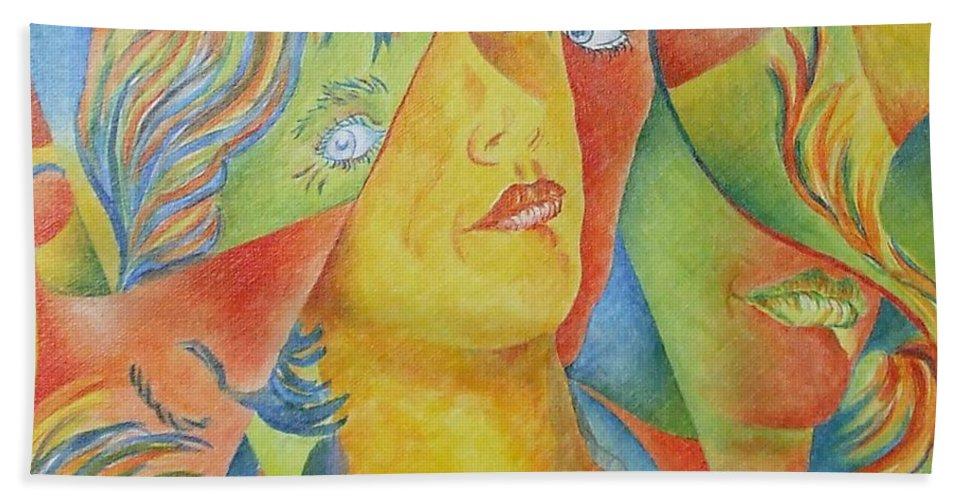 Cubist Hand Towel featuring the painting Femme Aux Trois Visages by Claire Gagnon