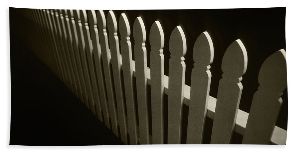 Fence Bath Sheet featuring the photograph Fence Bw by Steve Williams