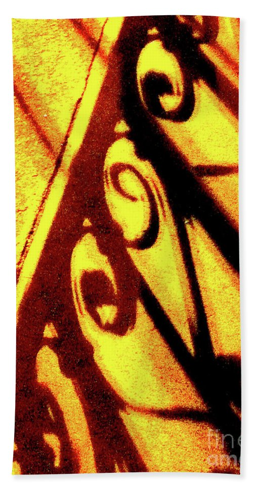 Fence Bath Sheet featuring the photograph Fence Shadows 5 by Ken Lerner