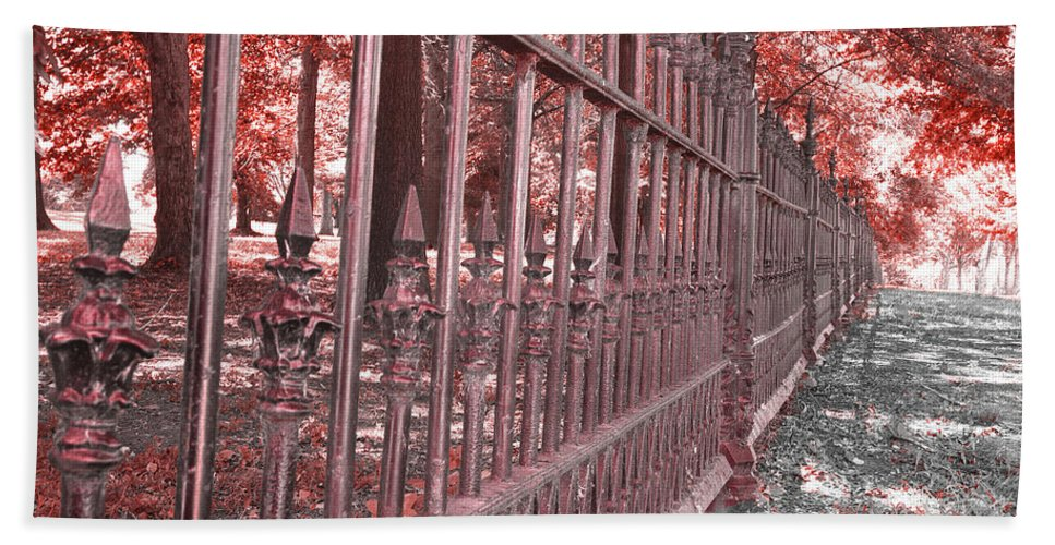 Red Hand Towel featuring the photograph Fenced In Red by Larry Jost