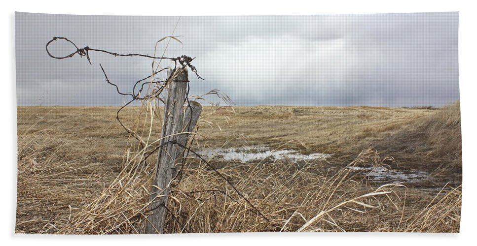 Rural Hand Towel featuring the photograph Fencepost by Linda Bianic
