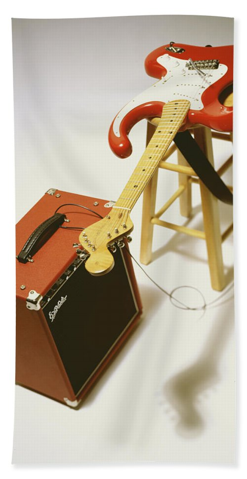 Guitar Hand Towel featuring the photograph Fender Bender by Robert Ponzoni