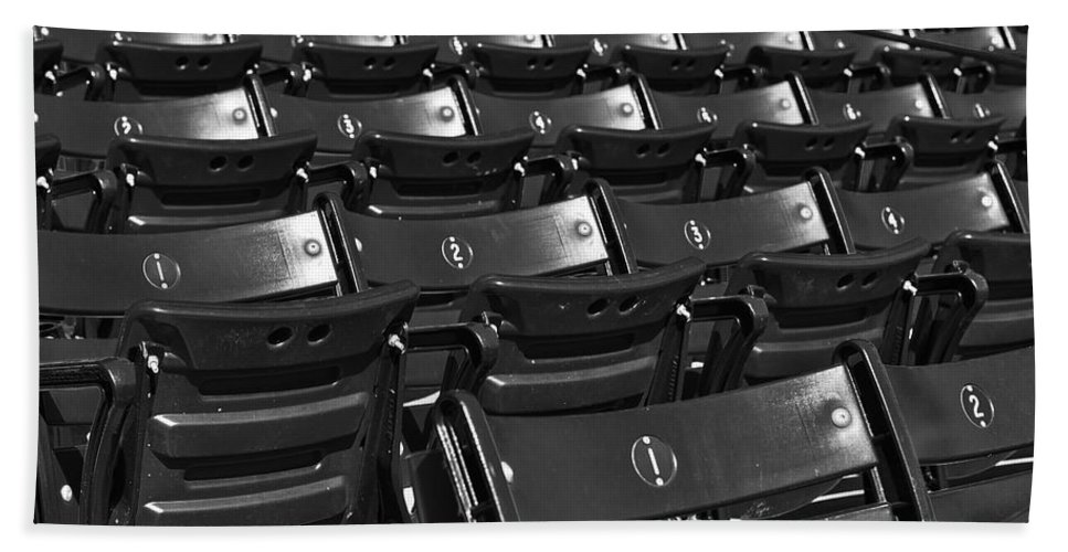 Boston Red Sox Hand Towel featuring the photograph Fenway Park Red Bleachers Bw by Susan Candelario