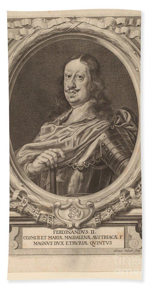 Hand Towel featuring the drawing Ferdinando II, Grand Duke Of Tuscany by Adriaen Haelwegh