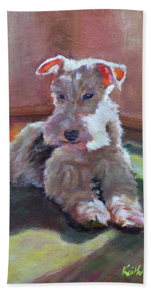 Pet Bath Towel featuring the painting Fergie by Keith Burgess