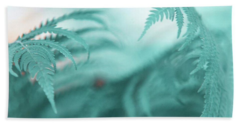 Jenny Rainbow Fine Art Photography Hand Towel featuring the photograph Fern Leaves Abstract. Nature In Alien Skin by Jenny Rainbow