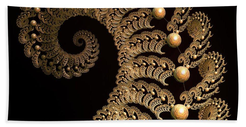 Incendia Bath Sheet featuring the digital art Fern-spiral-fern by Deborah Benoit