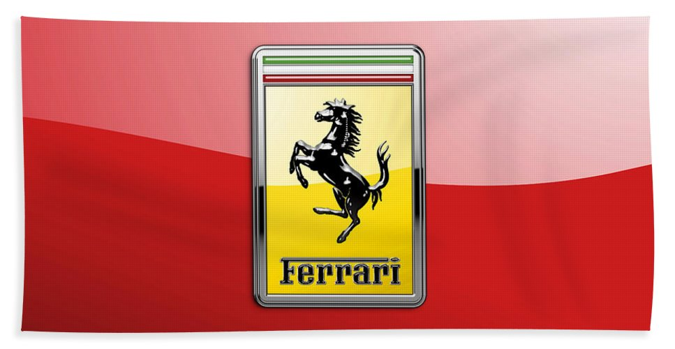 �auto Badges� Collection By Serge Averbukh Bath Towel featuring the photograph Ferrari 3D Badge-Hood Ornament on Red by Serge Averbukh