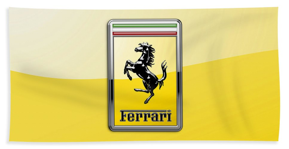 �auto Badges� Collection By Serge Averbukh Bath Towel featuring the photograph Ferrari 3D Badge- Hood Ornament on Yellow by Serge Averbukh
