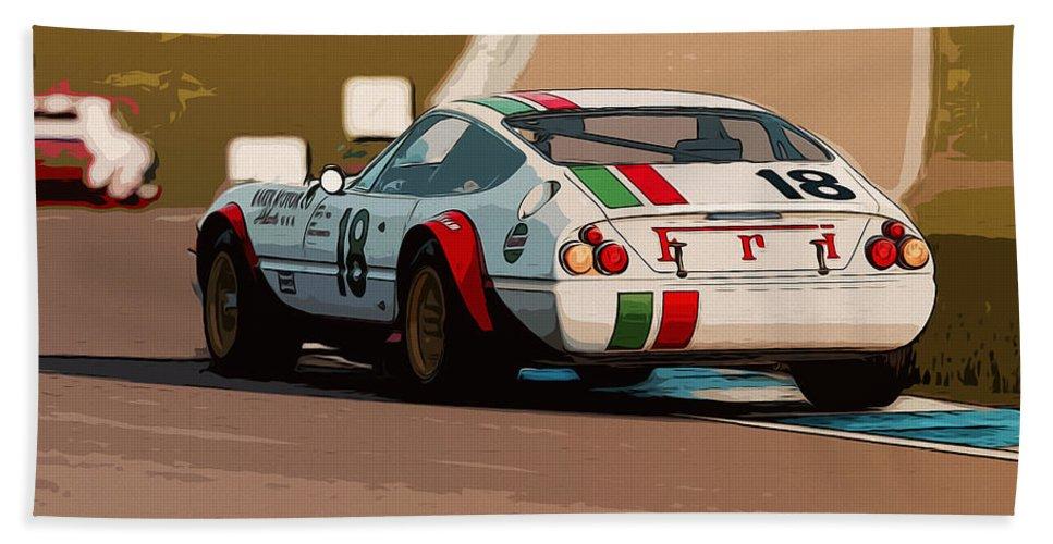 Ferrari 365 Gtb4 Hand Towel featuring the painting Ferrari Daytona - Italian Flag Livery by Andrea Mazzocchetti