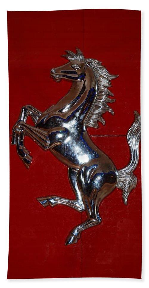 Pop Art Hand Towel featuring the photograph Ferrari Stallion by Rob Hans