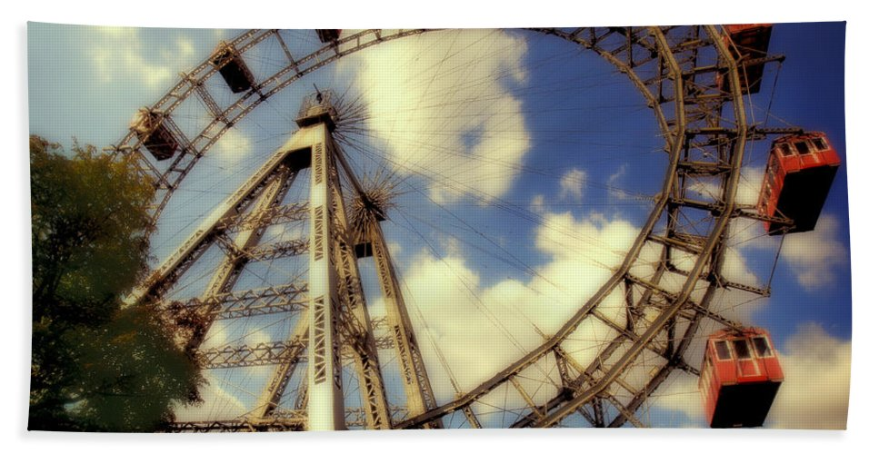 Ferris Wheel Hand Towel featuring the photograph Ferris Wheel At The Prater by Madeline Ellis