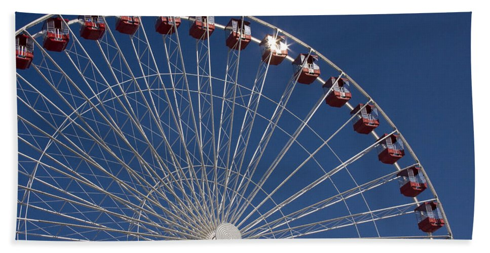 Chicago Ferris Wheel Navy Pier Windy City Attraction Tourist Tourism Travel Blue Sky Hand Towel featuring the photograph Ferris Wheel IIi by Andrei Shliakhau