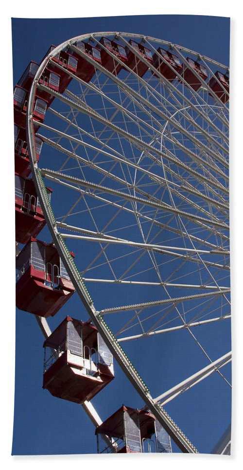 Chicago Windy City Ferris Wheel Navy Pier Attraction Tourism Round Tourist Travel Blue Sky Park Hand Towel featuring the photograph Ferris Wheel Iv by Andrei Shliakhau