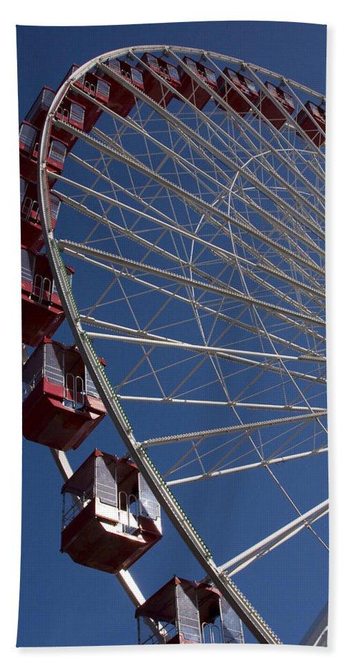 Chicago Windy City Ferris Wheel Navy Pier Attraction Tourism Round Tourist Travel Blue Sky Park Bath Towel featuring the photograph Ferris Wheel Iv by Andrei Shliakhau