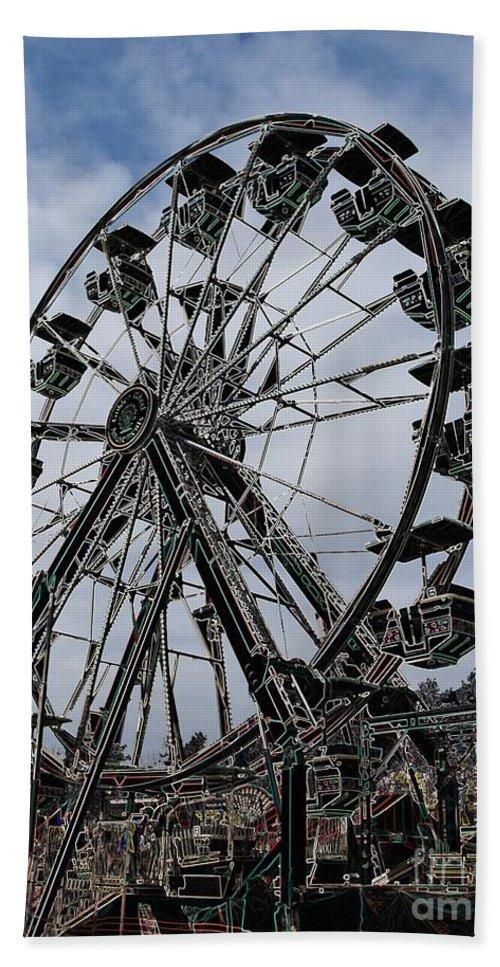 Ferris Wheel Hand Towel featuring the digital art Ferris Wheel by Ron Bissett