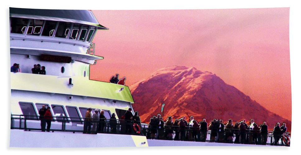 Seattle Bath Towel featuring the digital art Ferry And Da Mountain by Tim Allen