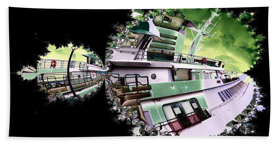 Seattle Bath Towel featuring the digital art Ferry In Fractal by Tim Allen