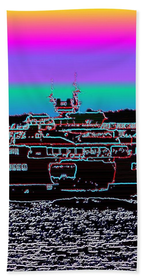 Seattle Bath Sheet featuring the photograph Ferry On Elliott Bay 4 by Tim Allen