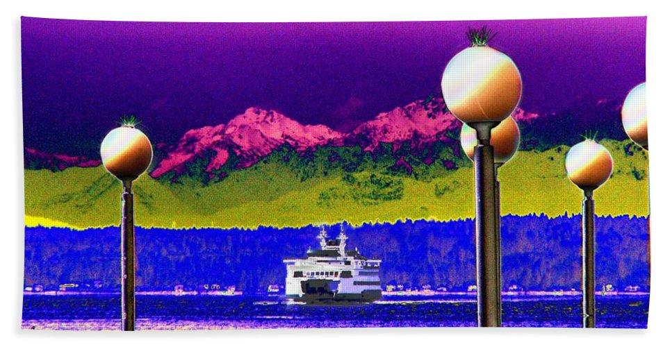 Seattle Bath Sheet featuring the digital art Ferry On Elliott Bay by Tim Allen