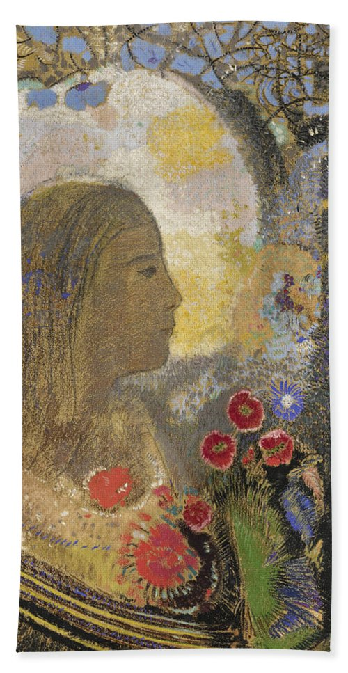 Odilon Redon Hand Towel featuring the drawing Fertility. Woman In Flowers by Odilon Redon