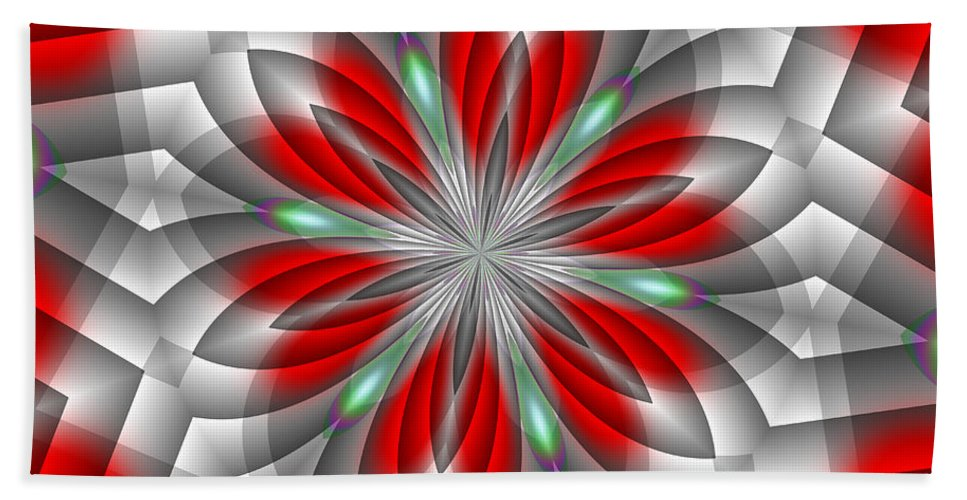 Abstract Bath Sheet featuring the digital art Festive Fractal by Michelle McPhillips